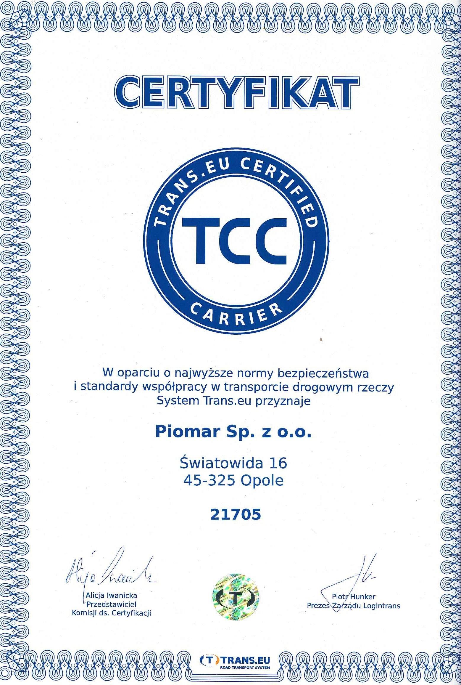 Certyfikat TCC