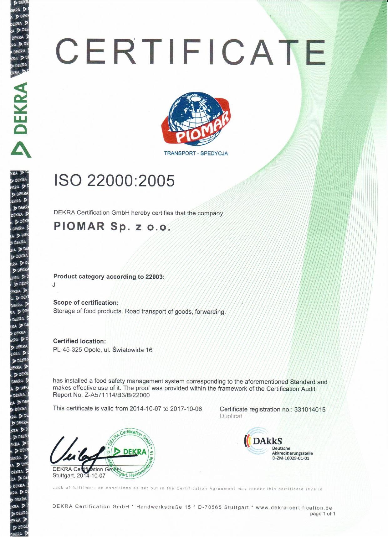 ISO 22000:2005 Certificate for PIOMAR! - PIOMAR - Transport