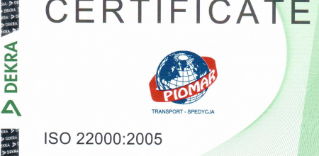 ISO 22000:2005 Certificate for PIOMAR!
