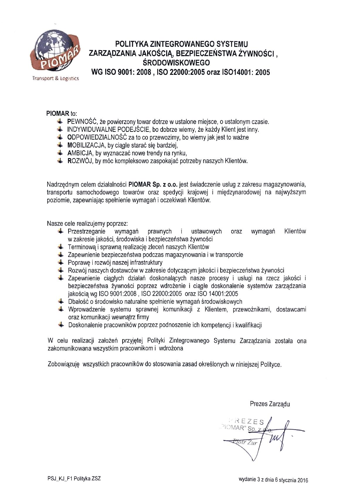 Polityka jakości PIOMAR Sp. z o.o.