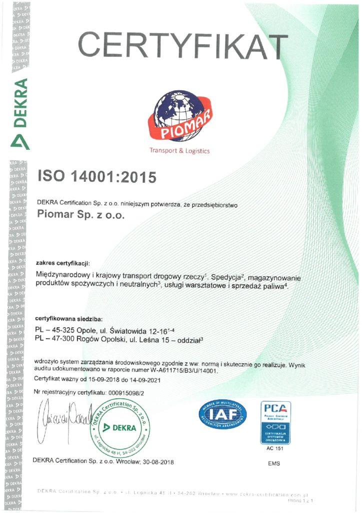 Certyfikat ISO 14001:2015